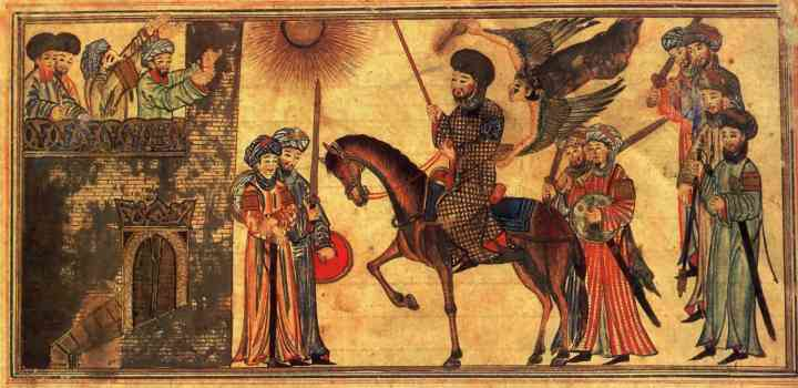 Mohammed unterwirft den jüdischen Stamm Banu Nadir, Zeichnung 14. Jahrhundert (c) wikicommons