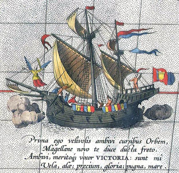 Schiff von Magellan auf dem Weg nach Afrika - Detail aus einer Karte von Ortelius (c) helmink