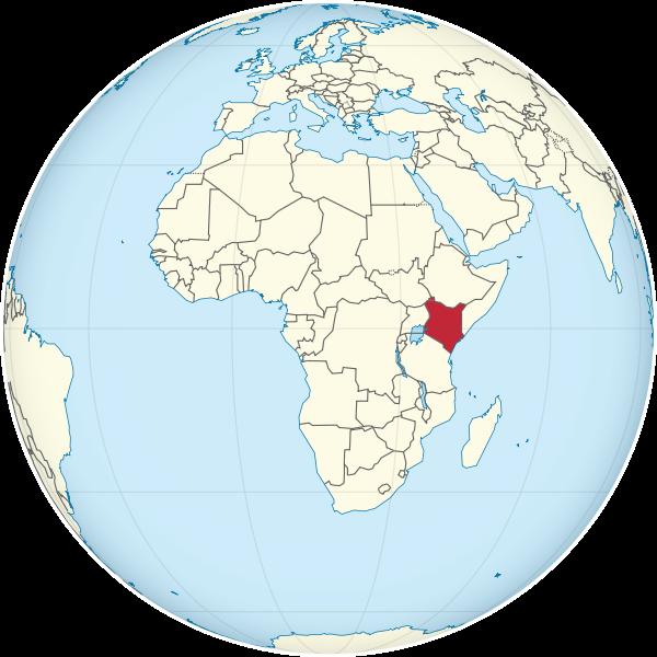 Kenia auf dem Globus