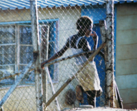 In einem Slum in einer südafrikanischen Stadt