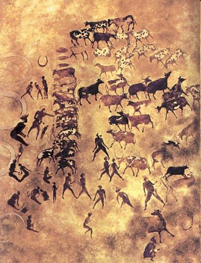 Felszeichnungen in der Tassili (c) Viezüchter mit Herde