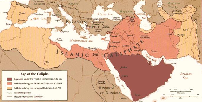 Karte zur Ausbreitung des Islam in Nordafrika um 750 (c) US government