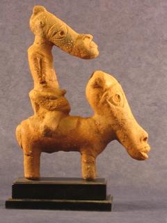 Terrakotta Figur - Mann auf einem Pferd