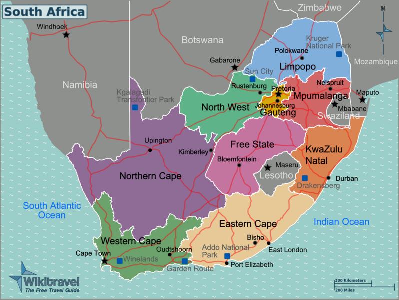 Südafrika mit Regionen