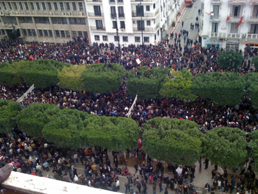 Protestbewegung in Tunis im Januar